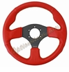 NRG Race Sport Steering Wheel Red Leather/Black Stitch ST-012RR-BS