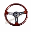 NRG Wood Grain Steering Wheel Wood Trim with Matte Gray Spokes ST-015-1BK