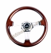 NRG Wood Grain Steering Wheel Wood Trim with Chrome Spokes ST-015-1CH