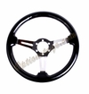 NRG Wood Grain Steering Wheel Black Wood with Chrome Spokes ST-017-CH
