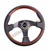 NRG Wood Grain Steering Wheel Wood/Black Leather ST-025-BK