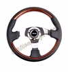 NRG Wood Grain Steering Wheel Wood/Black Leather Chrome Spokes ST-025-CH