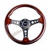 NRG Wood Grain Steering Wheel Wood Trim with Matte Spokes ST-035-BK