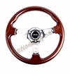 NRG Wood Grain Steering Wheel Wood Trim with Chrome Spokes ST-035-CH
