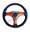 NRG Wood Grain Steering Wheel Wood/Black Leather with Wood Spokes ST-055