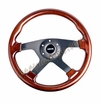 NRG Wood Grain Steering Wheel Wood Trim/Black Spokes ST-075-BK