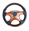 NRG Wood Grain Steering Wheel Wood/Black with Wood Spokes ST-085