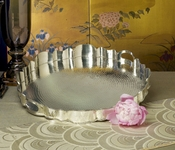 Antique Silver Hammmered Scallop Tray