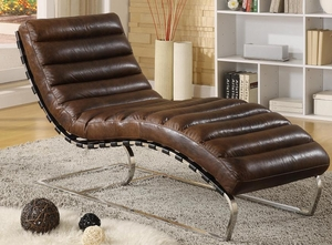 Vintage Leather Chaise - QS