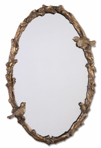 Oval Mirror with Birds