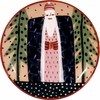 Father Christmas/Black - Unrimmed Dinner Plate