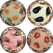Vegetable Blossom - Rimmed Dinner Plate Set of 4