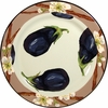 Vegetable Blossom/Eggplant - Rimmed Dinner Plate