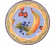 Fruit & Nut/Blue - Rimmed Salad Plate