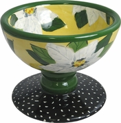 Poinsettia/Yellow - Pedestal Bowl