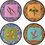 Very Veggie - Rimmed Dinner Plate Set of 4