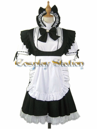 Black Cat  Maid Cosplay Dress
