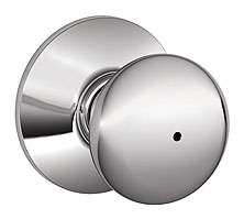 Schlage / Plymouth Knob / <U>Privacy</U> / Bright Chrome / F40PLY 625