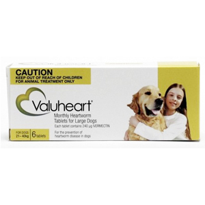 Valuheart Large dog  (Generic Heartgard) -  Heartworm 21 to 40 kg (44 lbs to 88 lbs) 6 month pack.