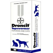 Droncit Tapewormer Dog - Cat (2 - 22lbs) 100 Tablets