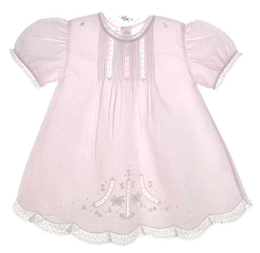 03cd4f382 NEW Feltman Brothers Pink Batiste Baby Dress with Embroidery and ...
