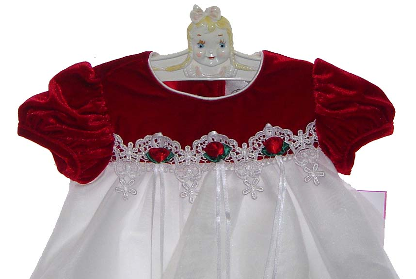 26df35a49fa5 NEW Rare Editions Red Velvet Baby Dress with White Organdy Skirt ...