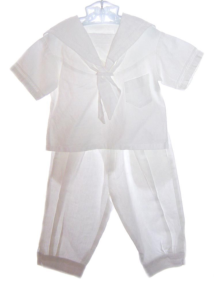 e826a530ff8f NEW Paper White Boy s White Linen Sailor Suit with Knicker Style Pants