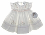 "<img src=""https://p11.secure.hostingprod.com/@grammies-attic.com/ssl/images/blue-sold-1.gif""> NEW Sarah Louise Ivory Smocked Baby Dress with Embroidered Flowers and Pinafore Style Sleeves"