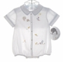 "<img src=""https://p11.secure.hostingprod.com/@grammies-attic.com/ssl/images/blue-sold-1.gif""> NEW Sarah Louise Vintage Style White Romper and Matching Hat with Embroidered Chicks"