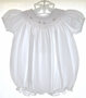 "<img src=""https://p11.secure.hostingprod.com/@grammies-attic.com/ssl/images/blue-sold-1.gif""> Petit Ami White Smocked Bishop Style Bubble with Embroidered Flowers"