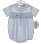 "<img src=""https://p11.secure.hostingprod.com/@grammies-attic.com/ssl/images/blue-sold-1.gif""> NEW Carriage Boutiques Pale Blue Smocked Romper with Animal Embroidery"