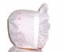 "<img src=""https://p11.secure.hostingprod.com/@grammies-attic.com/ssl/images/blue-sold-1.gif""> White Embroidered Baby Bonnet with Pink Satin Ribbon"