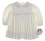 "<img src=""https://p11.secure.hostingprod.com/@grammies-attic.com/ssl/images/blue-sold-1.gif""> NEW Sarah Louise Ivory Corduroy Pleated Baby Dress with Embroidery"