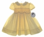 "<img src=""https://p11.secure.hostingprod.com/@grammies-attic.com/ssl/images/blue-sold-1.gif""> NEW Sarah Louise Yellow Smocked Baby Dress with Yellow Ruffled Collar"