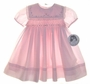 "<img src=""https://p11.secure.hostingprod.com/@grammies-attic.com/ssl/images/blue-sold-1.gif""> NEW Sarah Louise Pale Pink Smocked Baby Dress with Square Embroidered Collar"