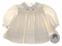 "<img src=""https://p11.secure.hostingprod.com/@grammies-attic.com/ssl/images/blue-sold-1.gif""> NEW Sarah Louise Ivory Smocked Baby Dress with Scalloped Embroidered Collar"