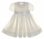 "<img src=""https://p11.secure.hostingprod.com/@grammies-attic.com/ssl/images/blue-sold-1.gif""> NEW Sarah Louise Ivory Smocked Dress with Lace Collar and Satin Sash"