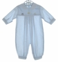 "<img src=""https://p11.secure.hostingprod.com/@grammies-attic.com/ssl/images/blue-sold-1.gif""> Sarah Louise Pale Blue Baby Romper with Embroidered Cars"