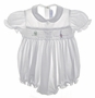 "<img src=""https://p11.secure.hostingprod.com/@grammies-attic.com/ssl/images/blue-sold-1.gif""> Feltman Brothers White Smocked Baby Bubble with Embroidered Boat"