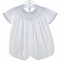"<img src=""https://p11.secure.hostingprod.com/@grammies-attic.com/ssl/images/blue-sold-1.gif""> Feltman Brothers White Smocked Bubble with Blue Embroidery"