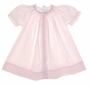 "<img src=""https://p11.secure.hostingprod.com/@grammies-attic.com/ssl/images/blue-sold-1.gif""> Feltman Brothers Pale Pink Bishop Smocked Daygown with Lace and Embroidery"