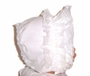 "<img src=""https://p11.secure.hostingprod.com/@grammies-attic.com/ssl/images/blue-sold-1.gif""> White Baby Bonnet with White Lacy Ruffles"