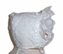 "<img src=""https://p11.secure.hostingprod.com/@grammies-attic.com/ssl/images/blue-sold-1.gif""> NEW White Embroidered Eyelet Baby Bonnet with Lace Edged Ruffle"