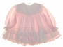 "<img src=""https://p11.secure.hostingprod.com/@grammies-attic.com/ssl/images/blue-sold-1.gif""> Bryan Pink Striped Baby Dress with White Ribbon and Lace Trimmed Pinafore"