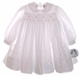 "<img src=""https://p11.secure.hostingprod.com/@grammies-attic.com/ssl/images/blue-sold-1.gif""> NEW Sarah Louise White Smocked Baby Dress with Pink Rosebuds"