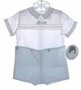 "<img src=""https://p11.secure.hostingprod.com/@grammies-attic.com/ssl/images/blue-sold-1.gif""> NEW Sarah Louise Blue and White Button On Shorts Set with Embroidered Train"