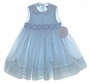 "<img src=""https://p11.secure.hostingprod.com/@grammies-attic.com/ssl/images/blue-sold-1.gif""> NEW Sarah Louise Blue Sleeveless Smocked Dress with Fagoted Scalloped Collar"