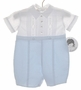 "<img src=""https://p11.secure.hostingprod.com/@grammies-attic.com/ssl/images/blue-sold-1.gif""> NEW Sarah Louise Blue and White Pintucked Romper with Embroidery"