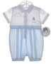 "<img src=""https://p11.secure.hostingprod.com/@grammies-attic.com/ssl/images/blue-sold-1.gif""> NEW Sarah Louise Blue and White Romper with Embroidered Boat"