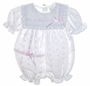 "<img src=""https://p11.secure.hostingprod.com/@grammies-attic.com/ssl/images/blue-sold-1.gif""> NEW White Eyelet Baby Bubble and Matching Bonnet with Pink Ribbons and Lace"